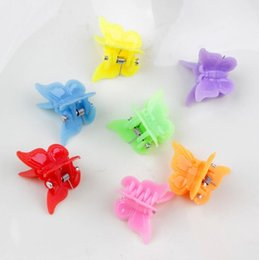wholesale girls butterfly hair claws Australia - 20 pcs lot Mix Color Crab Flower Butterfly Heart Hair Claw Shell Plastic Mini Hairpin Star Clip Barrettes For Girls Accessories