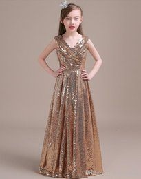 $enCountryForm.capitalKeyWord Australia - Gold Sequins V Neck Flower Girl Dress for Wedding 2019 Floor Length Kids Gowns New First Communion Dresses