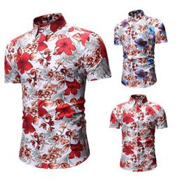 b2980df43580 Fashion Mens Floral Print Hawaiian Shirts Short Sleeve Plus Size Casual  Slim Fit Streetwear Male Beach Tops Social Shirts XXXL