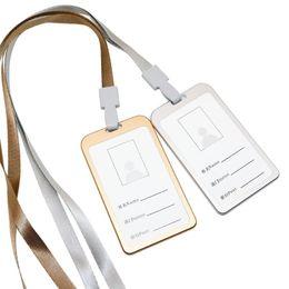 Lanyard badge verticaL online shopping - New Aluminum Alloy Vertical Lanyard Card Set Business Work Name Card Holders ID Badge Holder Metal Business Case