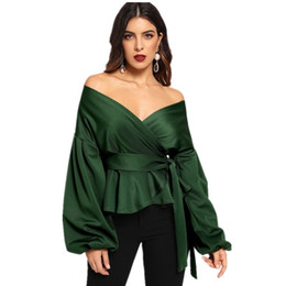 97083c79133 Ladies Off Shouder Top Summer V-Neck Off-Shoulder Three Colors Polyester  Lantern Fashion Sexy Newest Womens Blouse Shirts Plus Size 177151
