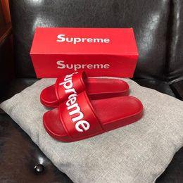 Beach Shoes 47 Australia - High Quality Luxury Designer Men Women Summer Black Red Rubber Slippers Beach Slide Fashion Scuffs Sandals Indoor Shoes Size 36-47