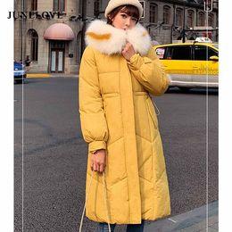 Discount street wear jackets - JuneLove Winter hooded women casual Down jacket ladies fur collar zippers long down coat female warm coat street wear ou