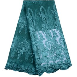 Discount wholesale fabrics for dresses - 2019 Latest African French Lace Fabric Green High Quality Tulle Laces Fabric With Beads And Stones For African Lace Dres
