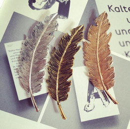 $enCountryForm.capitalKeyWord Australia - Leaf Feather Design Punk Women Girl Hair Clip Pin Claw Barrettes for Women Wedding Party Gift Hair Styling Tools Ornament Accessories