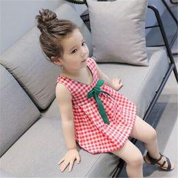 $enCountryForm.capitalKeyWord Australia - INS summer baby girl clothes new fashion V-Neck bowknot checked girls sleeveless dresses kids clothing kids designer clothes girls FJ68