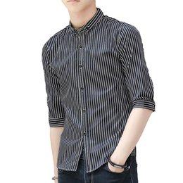 Discount black shirt office men Summer Spring Men Fashion Stripe Printing Turn-Down Collar Half Sleeve Men's Shirts Tops Casual Office Slim Fit Mal