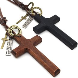 $enCountryForm.capitalKeyWord Australia - Christian Jesus Single Natural Wood Cross Pendant Necklace Adjustable Leather Chain Sweater Necklace for Women Men