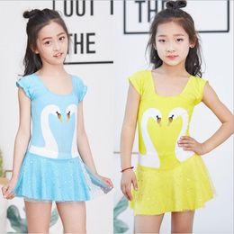 0c81039041175 Kids Designer Clothes Girls Swan Swimwear Baby One-piece Bikini Cute Summer  Princess Skirts Swimsuits Fashion Two-piece Bathing Suits B5345