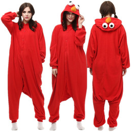 Red Adult Polar Fleece Cosplay Sesame Onesie Ears Pajama Halloween Carnival  Masquerade Party Cookie Jumpsuit ea559a9fe