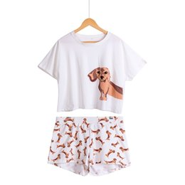 $enCountryForm.capitalKeyWord Australia - Cute Women Pajamas Nightwear Dachshund Print Dog 2 Pieces Set Short Sleeve Top Elastic Waist Shorts Plus Size Pijamas S75605 L