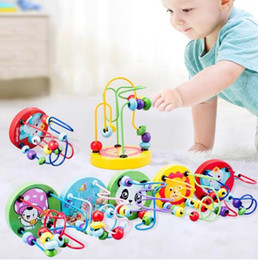 kids roller toy Australia - Montessori Wooden Toys Wooden Circles Bead Wire Maze Roller Coaster Educational Wood Puzzles Boys Girls Kid Toy 6+ Months