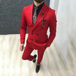 Groom Pants Coat Australia - Classy Groom Tuxedo Men Wedding Suits Red Peak Lapel Slim Fit Man Blazer Custom Made Bridegroom Jacket 2 Piece(Coat+Pants)Terno Masculino