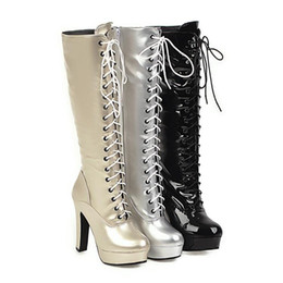 silver lace up Australia - Plus size 34 to 40 41 42 43 44 45 46 47 48 womens knee high boots lace up platform knigth boots winter designer boots gold silver black