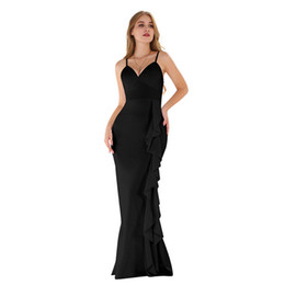 Invisible Zipper Dress UK - designer ruffled party dresses sexy suspender backless spaghetti strap evening dress with invisible zipper and thick dress with ear edge