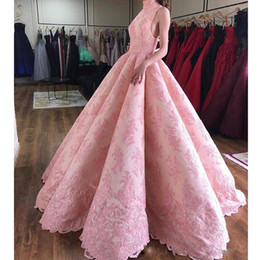 celebrities ball gowns Canada - Pink Ball Gown Ruffles Prom Dresses High Neck Full Lace Appliques Celebrity Gown Floor Length Quinceanera Dresses