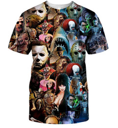 Moda Uomo / Donna Halloween Character Collage 3D Stampa Casual T-Shirt manica corta DF69