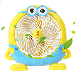 Plastic Electric Fan Australia - Minions Cartoon Small Fan Mini Student Dormitory Electric Fan Office Rotary Dormitory Silent Desk Fan