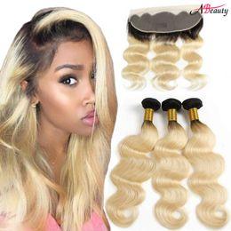 $enCountryForm.capitalKeyWord Australia - 13X4 Ear To Ear 1B 613 Lace Frontal With Bundles Brazilian Body Wave Human Hair Ombre Blonde Hair Weaves