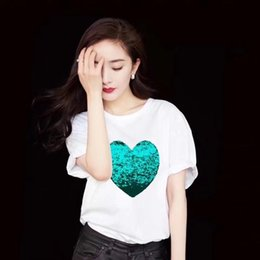 $enCountryForm.capitalKeyWord NZ - New Fashion Star Style Yang Mi Short Sleeve Sparkly Color Heart-shaped Cotton T-shirt S M L XL