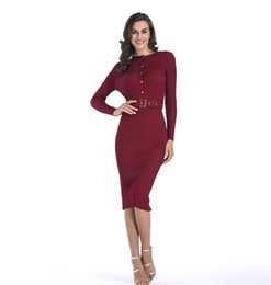 $enCountryForm.capitalKeyWord UK - Autumn and Winter Long Sleeve Knitted Dresses for Women in Pure Color and Sexy Belt-wrapped Hip Pencil Skrt Suits Fast Shipping
