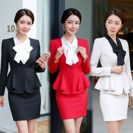 Skirt Suit Plus Australia - Black Ladies Formal Uniform Designs Set for Women Blazer Mulher Uniform Elegant Feminino Business Skirt Suits Plus Size
