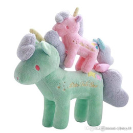wholesale doll houses NZ - Good T466 Kawaii Unicorn Stuffed Animals Doll cute house 21cm Cartoon Mini Bowknot Unicorn Plush Toys for kids Xmas Gifts candy Colors