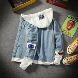 c5214133c7 ... moda para hombre falso dos piezas remiendo sudaderas con capucha  chaqueta de mezclilla streetwear rasguño vaquero ropa jeans masculinos al por  mayor
