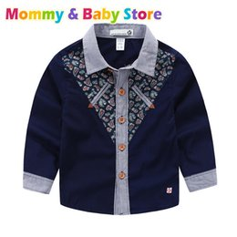 $enCountryForm.capitalKeyWord Australia - Baby Boy Long Sleeve Shirt Kids Single Breasted Korean Clothes 100% Cotton Splice Colors Shirts Toddler Formal Party Blouses