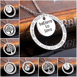 family word charm NZ - Hollow Tree Of Life Family Tree Charm Love Dream Hope Trust Words Charm Pendant Necklace Jewelry Gifts