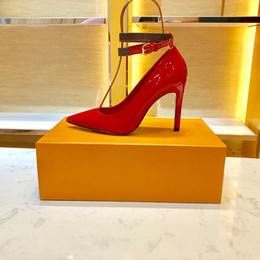 Red Leather Dresses Australia - 2019 Fashion high quality designer women shoes Genuine leather bottom high heels 10cm Nude black red Leather Pointed Toes Pumps Dress Brida