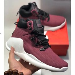 Wholesale 2019 Brand men s fabric elastic flat knitted casual sports shoes designer women s two color rubber microshoes breathable casual shoe box