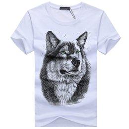 Men Brand T Shirt Australia - Men's summer clothing T-Shirt White T shirt Casual Cotton Wolf Printed Cartoon Short Sleeve Tee Shirt Men Brand Tee shirt 5XL
