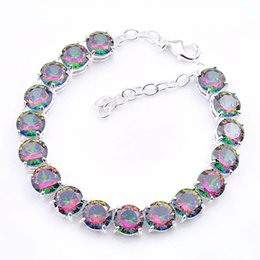 $enCountryForm.capitalKeyWord NZ - 3PCS   LOT Luckyshine Hot sell fashion 925 sterling silver plated trendy round rainbow mystic topaz gemstone chain bracelet b0333