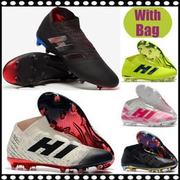 Free Soccer Shoes Australia - Free Shipping New Mens High Ankle Football Boots Nemeziz 18+ FG Soccer Shoes Nemeziz Messi 18 FG TF Outdoor Soccer Cleats laceless chuteiras