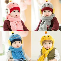 Little Hats Australia - New Little Robot Baby Winter Knitted Beanie Hat And Scarf Set Toddler Kids Warm Balaclava Cap Outdoor Skiing Sports Scarf Sets