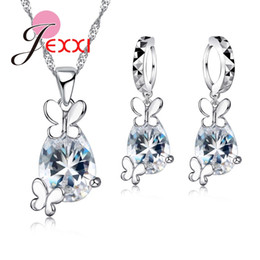 4125d56c76f0 JEXXI 925 Sterling Silver Cute Animal Butterfly Necklace Big Crystal Drop  Earrings For Women Brincos Wedding Jewelry Sets Collar