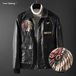 manga larga 2019 - 2019 Men Leather Jacket Stand Collar Coat Autumn Casual Slim PU Black Jacket Male Moto Biker Outerwear Motocicleta Manga