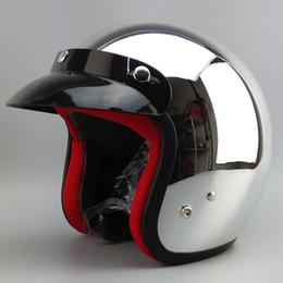 Helmet Motorcycles Open Face NZ - Mirror Silver Chrome Vespa Open Face Motorcycle Motorbike Helmet Harley Retro Moto Helmets Casque Casco Capacete Motoqueiro DOT
