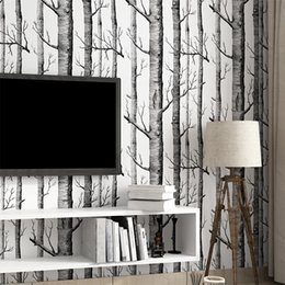 $enCountryForm.capitalKeyWord Australia - Tree White Wood Forest Black Texture 3d Embossed Flocking Non-woven Wallpaper Wallcovering Living Room Tv Background Home Decor