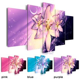 Painting Lily Australia - HD No Frame 5PCS Set Art Lily Flowers Art Print Frameless Canvas Painting Wall Picture Home Poster Decoration Pictures, Choose Color & S