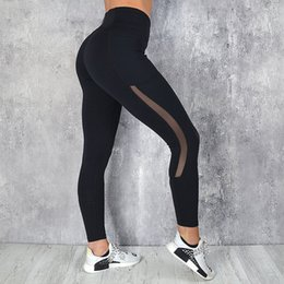 Side Mesh Leggings Australia - Women Sexy Mesh Patchwork Side Pockets Booty gothic Pencil Pants push up Gyms Butt Capris Mujer Leggings Y190603