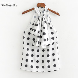 women satin blouse Australia - SheMujerSky Women Satin Sleeveless Blouse Polka Dot Bow Tie Ladies Tops And Blouses 2019