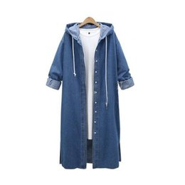 vintage denim trench coat NZ - [EWQ]Long Sleeve Loose Size Long Trench Coat Outwear Hooded Denim Jacket Long Women's Trench Coat 2019 Autumn New QK283