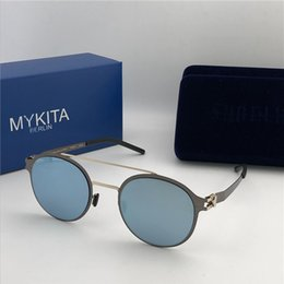 a1b8f430f2 new mykita sunglasses ultralight frame without screws MKT CROSBY round frame  flap top men brand designer sunglasses coating mirror lens