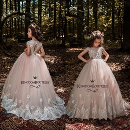 Flower Girl Dresses For Garden Wedding Australia - 2019 Princess Summer Garden Flower Girl Dresses For Wedding Lace Appliques Sequined Long Kids Puffy Birthday Party Dresses With Sash