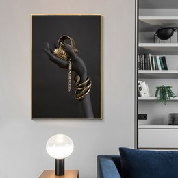 oil painting african art UK - Black and Gold Hand Bracelet Oil Painting on Canvas African Art Cuadros Posters and Prints Wall Art Picture for Living Room