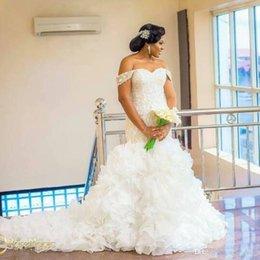 $enCountryForm.capitalKeyWord UK - 2018 Arabic Nigerian Plus Size Wedding Dresses Bridal Gowns Off the Shoulder Sweep Train Vestido de Noiva Lace Organza