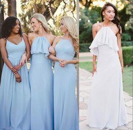 Light Orange Chiffon Canada - Light Sky Blue Sheath Chiffon Long Bridesmaid Dresses 2019 Straps Spaghetti Halter Ruched Summer Beach Maid of Honor Gowns for Weddings