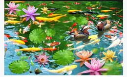 Pond Wall Stickers Australia - customized 3D self-adhesive floor painting wall paper The lotus pond has more than 3D bathroom waterproof floor stickers every year